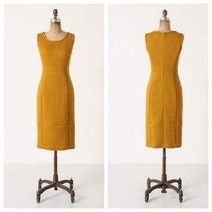 Anthropologie Tabitha quilted yellow midi dress
